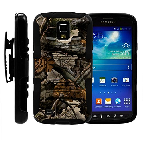 turtlearmor | Kompatibel für Samsung Galaxy S4 Active Schutzhülle | I9295 | i537 [Hyper Schock] Hybrid Dual Layer Rüstung Holster Gürtel Clip Case Ständer -, Tree Leaves Camouflage (T-mobile S4 Galaxy Handy)