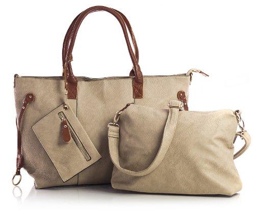 BHBS mittelgroßeDamen Einkaufstasche mit oberer Reißverschlussöffnung 3 in 1 mit mittellangem Riemen und Make-up Tasche Beige