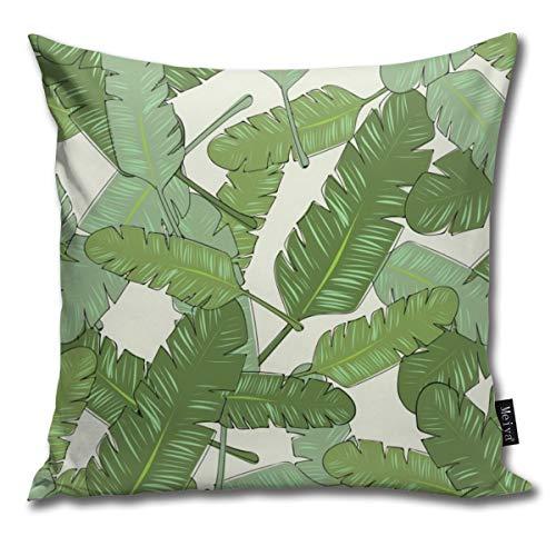 Banana Leaf Print Pillowcase Home Life Cotton Cushion Case 18 x 18 inches Banana Leaf House