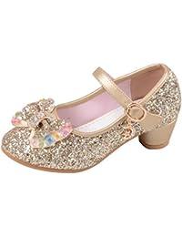Eozy Kinder Mädchen Glitzer Ballerinas Prinzessin Schuhe mit Schleife  Festliche Schuhe für Party Hochzeit cf53a53a7e