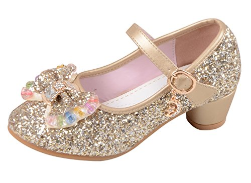 La vogue-bmabine scarpe con tacco da ragazza ballerie principessa festa (lunghezza interne 18.5cm, d'oro)