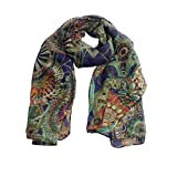Jaminy Mode Frauen Mädchen Chiffon bedruckt Seide lange weiche Schal Schal Schal oder (Marineblau)