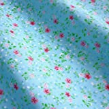 Turquoise Blue Polycotton Fabric with Little Pink Flower Design (Per Metre)