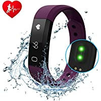 Diwuer fitness tracker, smart watch con cardiofrequenzimetro, touch-screen, impermeabile, resistente al sudore, per monitoraggio sonno, contapassi, distanza, conteggio calorie, per iPhone e telefoni Android, Purple