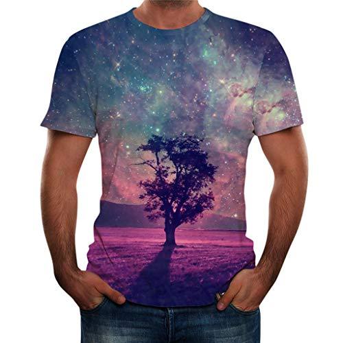 Xmiral T-Shirt Herren Landschaft 3D Gedruckte Kurze Ärmel Bluse Oben Persönlichkeit Cool Tanktop Poloshirt Elastizität Kurzarmshirt(Violett-Baum,XL)