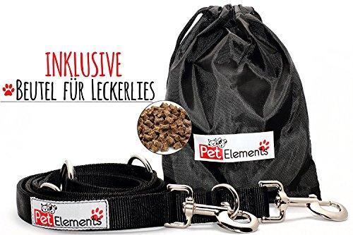 Hundeleine PetElements   inklusive Gratis Leckerlibeutel   Profi Doppelleine & Umhängeleine (2,5 cm breit)   längenverstellbare Hundeführleine & Übungsleine (1m – 2m)   Perfekt für Hundetraining   beißfestes Nylon - 2