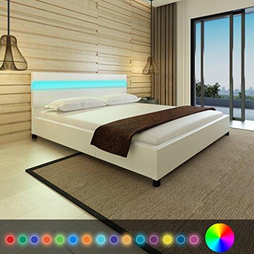 Anself Doppelbett Bett Ehebett Gästebett mit LED-Licht 180x200cm ohne Matratze Weiß