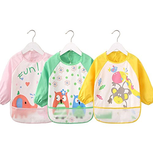 oral-q Unisex Kinder Craft Malerei Schürze Baby Lätzchen, wasserfest mit Ärmeln und Tasche, 6–36Monate, A gelb Panda, Set 1von oral-q (Gelb Bay Back)