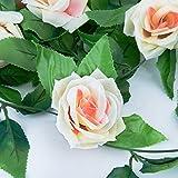 """[2 pcs] MOOKLIN Vid de hiedra de seda artificial,Guirnalda de flores de seda (9 flores) para jardín boda y casa decoración (approx.102"""" / 8.5 Ft) (Champagne)"""