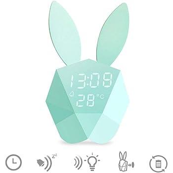 REAYOU Mignon Lapin LED Veilleuse Lampe de Nuit Lampe de Chevet+réveil fonction intégrée batterie au lithium conduit voix activée pour les enfants, filles, bébé, chambre d'enfants, maternelle