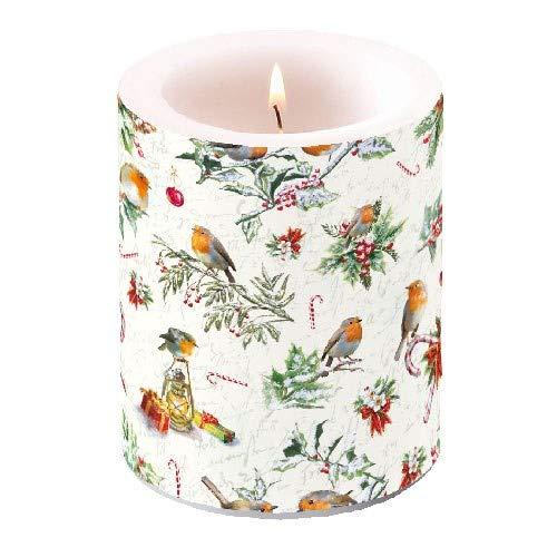 Ambiente - Luxury Paper Products Stumpenkerze Christmas Ornaments, geruchlos, dekorativ, Weihnachtliches Licht, Dekoration für Zuhause, Winter, Weihnachten (Vogel-ornamente Weihnachten)