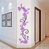 Light Purple : Bismarckbeer 3D Romantic Rose Flower Removable PVC Wall Stickers Home Decal Living Room Decor (Light Purple)