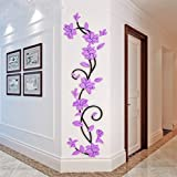 bismarckbeer 3D Romantic Rose Flower Removable PVC Wall Stickers Home Decal Living Room Decor (Light Purple)