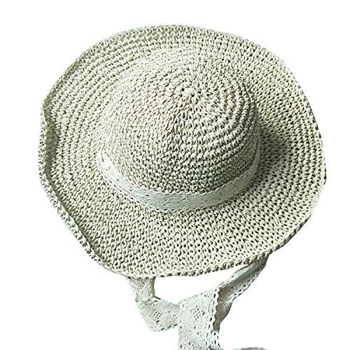 Aikowener Baby Mädchen Sonnenhut Spitze 50UV Schutz Große Diskette Rand Hut UV Schutz Sommer Faltbarer Strohhut Beachwear Reise (Größe M (56-58) für Frauen, Beige)