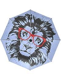 Wamika - Paraguas de Cabeza de león para Retratos, automático, Resistente al Viento,
