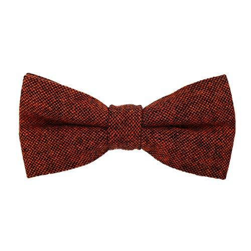 DonDon Herren Fliege 12 x 6 cm Baumwolle gebunden und längenverstellbar orange schwarz