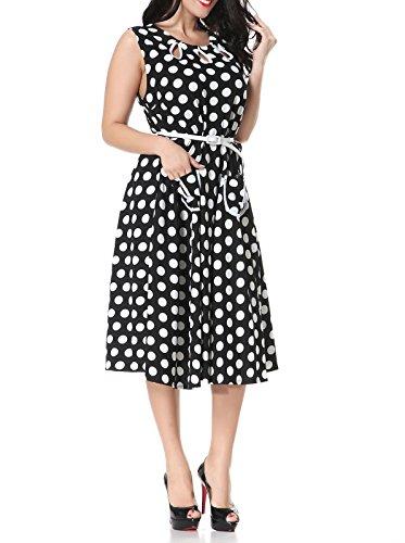Damen Plus Größe Elegant festliche Kleider A-Linie Spitzenkleid Cocktailkleid Knielanges Vintage 50er Jahr hochzeit Party Schwarz-Punkt