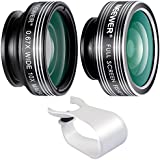 Neewer 3-in-1 clip-on Lens Kit para Android Tablets, iPad, iPhone, Samsung Galaxy Y Otros Smartphones: 180 Degree Objetivo Ojo de Pez, 2 en 1 lente de gran angular y macro, lente de goma suave soporte