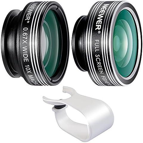 Neewer 3-in-1clip-on Lens Kit para Android Tablets, iPad, iPhone, Samsung Galaxy Y Otros Smartphones: 180Degree Objetivo Ojo de Pez, 2en 1lente de gran angular y macro, lente de goma suave soporte