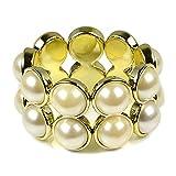 HUAN XUN Princess Style Wide Pearl Charm Elastic Bangle, 1pcs each color