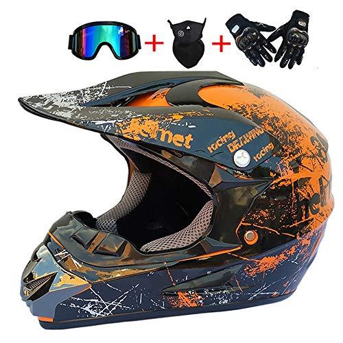 Erwachsener Motocross Helm Orange Schwarz, für Damen Herren Crosshelm Motorrad Enduro Downhill Helm Mountainbike Crossbike Off Road Dirt Bike Sport Sicherheit mit Brille Handschuhe Maske,M