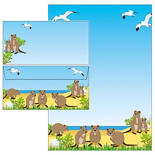 niedliche Quokkas Känguru Briefpapier-Mappe 50-teilig 25 Blatt Briefpapier + 25 Stück Briefumschläge DIN lang ohne Fenster 51095+61095M