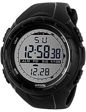 TTLIFE 1025 Unisex Multi-Funktions-Digital-LED-Quarz-Uhr-Wasser-beständige elektronische Sport-Uhren
