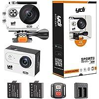 Action Cam 4K, YDI H9R Wasserdicht Sport Kamera Unterwasserkamera Ultra HD 1080P WIFI 170 Weitwinkel-Objektiv mit Fernbedienung, 2 Batterien und Zubehör-Set (Weiß)