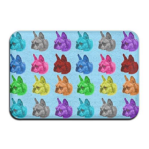 Poping Colorful Französische Bulldogge Kopf Rutschfest Teppich Fußmatten Fußmatte für Innen-/Front Tür/Badezimmer/Küche