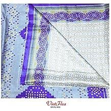 abstracto sari Vintage imprimido antiguo sari indio tela mezcla de seda 5YD utilizado elaborado materiales mujeres azul cortina cubra envuelven vestido de costura decoración del hogar tela reciclada
