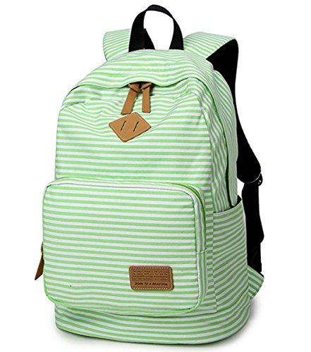 Minetom Damen Schulrucksack Farbige Streifen Schulranzen Schultasche Rucksack Freizeitrucksack Daypacks Backpack Grün