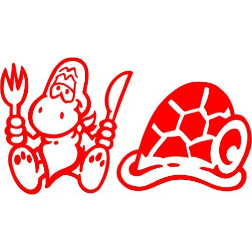 Schildkröte Aufkleber 002, 10 cm, rot
