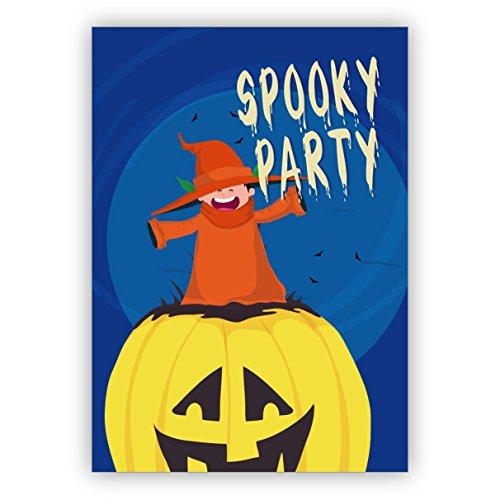 Klappkarten Set (4Stk) Lustige, gruselige Halloween Einladungskarte mit Kürbis und Hexe: Spooky - Spooky Halloween-party Essen