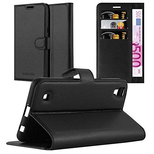Cadorabo Hülle für LG X Power - Hülle in Phantom SCHWARZ - Handyhülle mit Kartenfach und Standfunktion - Case Cover Schutzhülle Etui Tasche Book Klapp Style