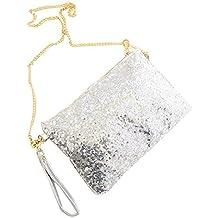 CC * CD Vintage sobre con lentejuelas fiesta noche bolso de embrague bolso de mano, plata