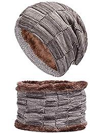 BESBOMIG Caldo Inverno Termico Maglia Cappello e Sciarpa Imposta Addensare  Sciare Cappello - Grande per in 08c82196dd44