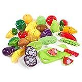 Blue Panda Alimenti in plastica per Bambini (apprendimento assortimento di Frutta Tagliata con Carta Piramide Alimentare Bonus, Calza di Natale) Confezione da 27 Multicolore