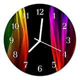 DekoGlas Glasuhr 'Abstraktes Mehrfarbig' Uhr aus Acrylglas, rund große Motiv Wanduhr Ø30 cm, lautlos für Wohnzimmer & Küche