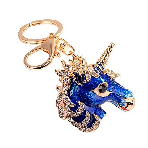 Nowbetter Schlüsselanhänger Einhorn Kristall Anhänger Schlüsselanhänger Auto Tasche hängende Ornamente Dekoration für Frauen Mädchen, blau, 11x6cm