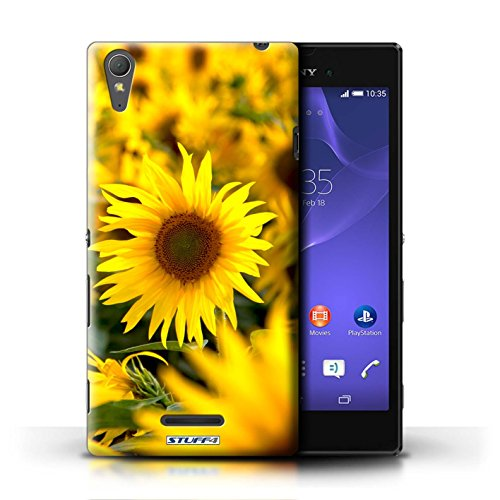 Kobalt® Imprimé Etui / Coque pour Sony Xperia T3 / Tournesols conception / Série floral Fleurs Champs de fleurs