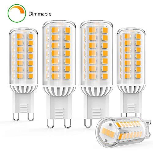 Hommie Dimmbare G9 LED Lampe Warmweiß, 4W Halogenlampen Ersatz 32-50W, 400LM, 2700K, Glühbirne mit 360 Grad Winkel, Kein Flackern, AC 220-240V, 5er Pack [Energieklasse A++]