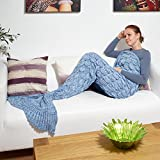 Luxury Mermaid Tail Blanket with Crochet Hand Knitted Scales Wrap Quilt Throw for Adult By Kreative Kraft™