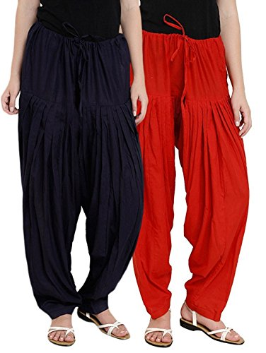 I Shop Traditional Patiala Salwar 100% Cotton Free Size (BLK_RED)