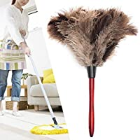 Ironhorse 35cm Anti-static Ostrich Feather Fur Brush Duster Dust Cleaning Tools Long Wood Handle