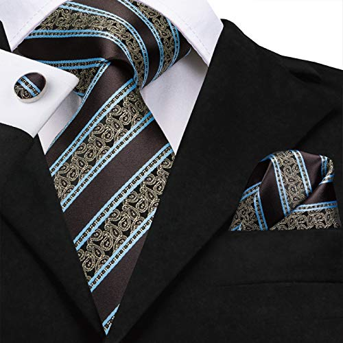 HYCZJH Mens Ties Seide gewebt braun Floral Tie Set Taschentuch Manschettenknöpfe Set Business Hochzeit Krawatten -