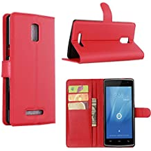 Guran® Leather Case for Doogee Kissme DG580 Smartphone Flip Cover Standing Function and Card Slot Mobile Case--red