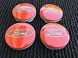4 x Ford 54 mm rot silber Logo Alufelgen Hub Mitte Kappen passend für die meisten Modelle Focus Fiesta Mondeo S-Max B-Max C-Max Galaxy Kuga ECOSPORT KA TRANSIT CONNECT TOURNEO CUSTOM Edge und weitere (54mm)