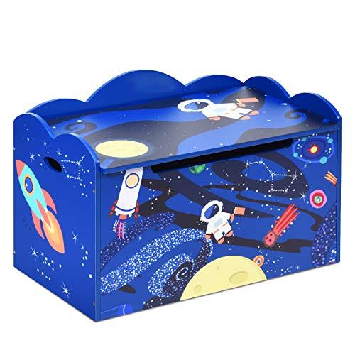 COSTWAY Spielzeugkiste mit Deckel, Spielzeugbox Kinder, Spielkiste Aufbewahrungsbox Kindermöbel, Farbewahl (blau)