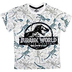 Jurassic World Camiseta de algodón para Hombre Adolescente (Blanco, Large)