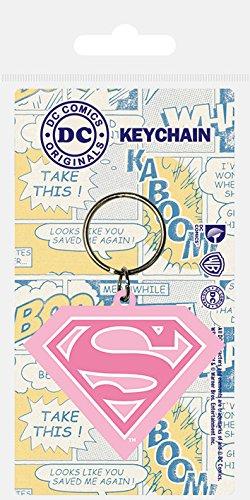 Pyramid International Supergirl (Shield) Schlüsselanhänger 4,5x 6cm, Gummi, Mehrfarbig, 4x 6x 1,3cm